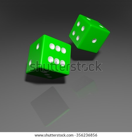 It's a 3D render of 2 Rolling Green Dice with high resolution.