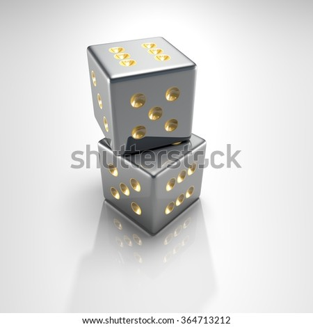 It's a 3D render of 2 Silver Dice with high resolution.