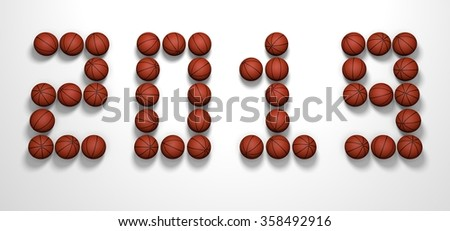 It's a 3D render of 2019 Year from Basketball Balls on white background with high resolution.