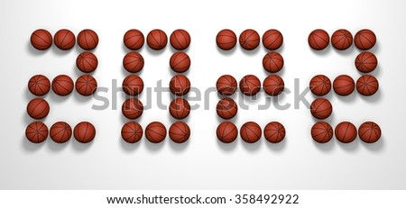 It's a 3D render of 2022 Year from Basketball Balls on white background with high resolution.