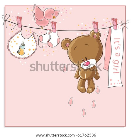 It's a girl - baby announcement card - stock photo
