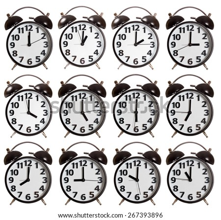 It's a Time Collection of Alarm Clock isolated - stock photo