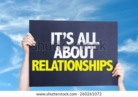 It's All About Relationships card with sky background - stock photo