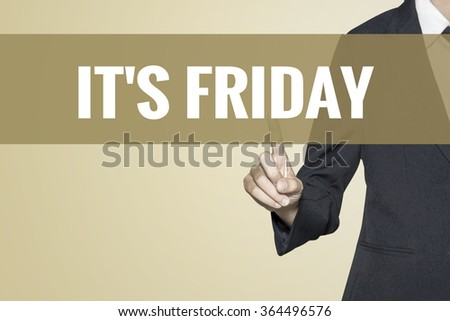 It's Friday word on vintage background retro virtual screen touch by business woman on white background - stock photo