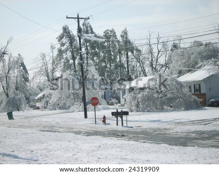 It's hard to believe how pretty it is and also how destructive it is. More ice from the ice storm in Paducah, KY. - stock photo