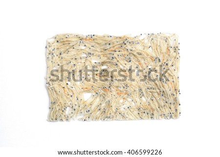 "It was made to dry the fry of sardine Japanese ingredients ""tatami iwashi"" - stock photo"