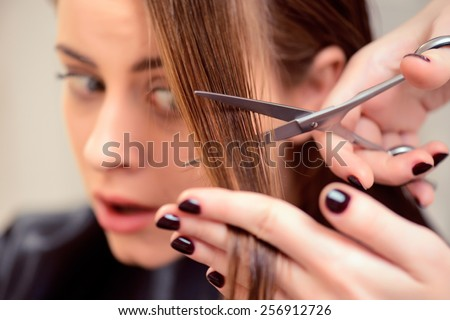 It will be awesome, trust me. Selective focus image of a hairdresser cutting her clients hair in a professional hairdressing salon - stock photo