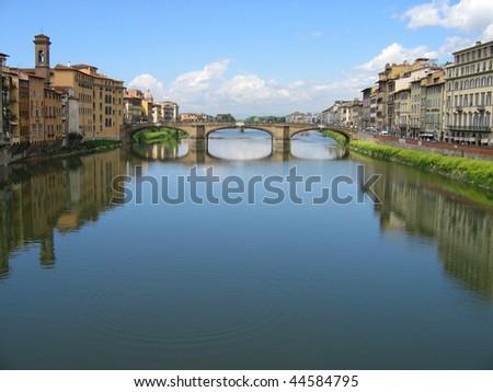 Italia Rio Arno Ponte Vecchio, Florencia - stock photo