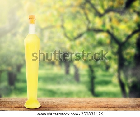 Italian alcoholic beverage, Limoncello on wooden table over lemon trees. - stock photo