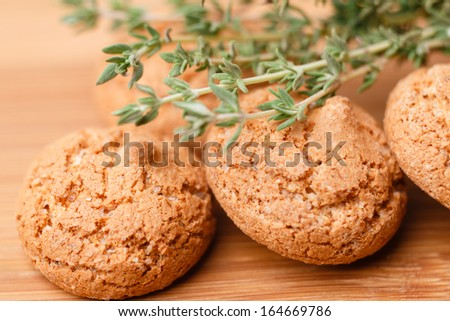 italian almond cookies with thyme - stock photo