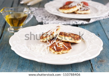 Italian antipasto with fried cottage cheese - stock photo