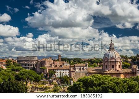 Italian architecture in Rome - stock photo