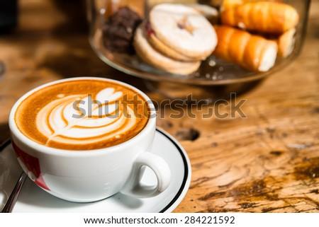 Italian artistic cappuccino - stock photo