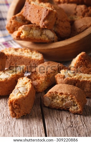 Italian biscotti delicious cookies with almond close up on the table. Vertical - stock photo