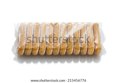 Italian biscuits called Savoiardi in plastic package isolated in white background - stock photo