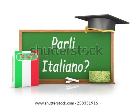 Italian book with a flag and a chalk board on which is written - Do you speak Italian? - stock photo