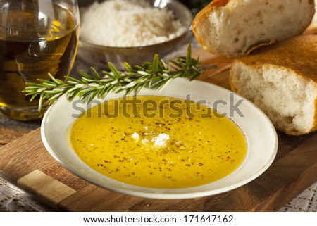 Italian Bread with Olive Oil for Dipping with Pepper and Cheese - stock photo