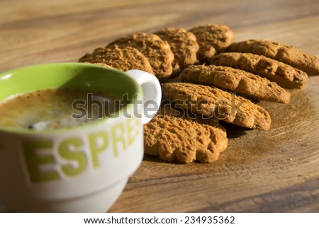 Italian breakfast: aromatic coffee espresso with cookies
