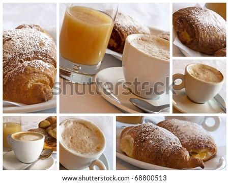Italian breakfast - collage - stock photo