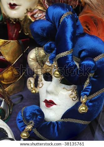 Italian carnival masks in Venice - stock photo