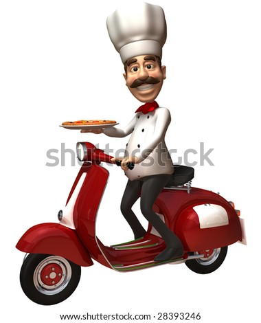 Italian chef with a pizza - stock photo