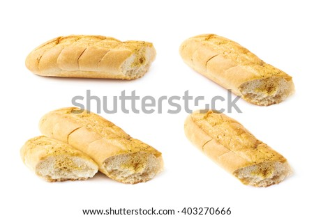 Italian ciabatta white bread isolated over the white background, set of four different foreshortenings - stock photo