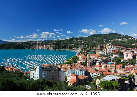 Italian city Lerici - port and houses - stock photo
