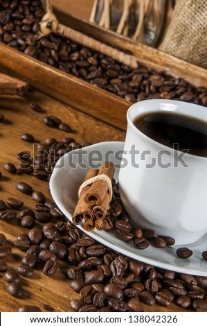 Italian coffee concept with cafe set