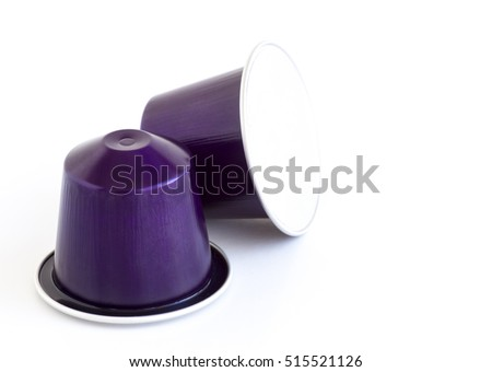 Italian coffee espresso capsules or coffee pods on white isolated background. Can be used as an element for your design