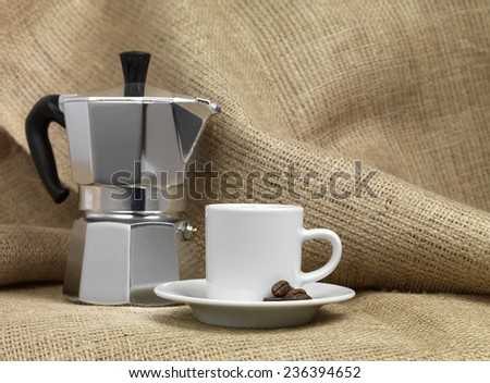 Italian Coffee Machine and cup - stock photo