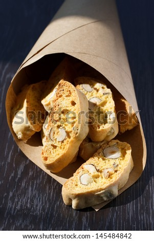 Italian cookies - biscotti in a paper bag  - stock photo