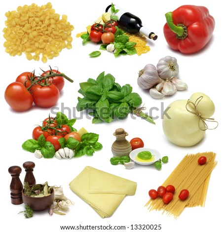 Italian cooking food sampler with clipping paths - stock photo