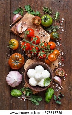 Italian cooking ingredients : mozzarella, tomatoes, garlic, herbs  and other - stock photo