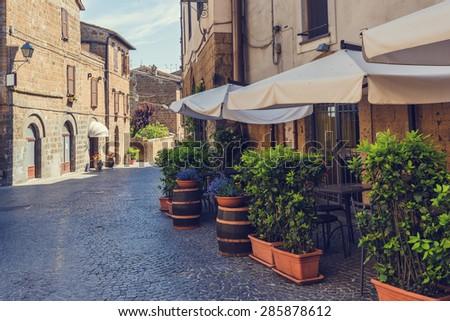 Italian corners of in the Tuscan towns - stock photo