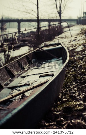 Italian countryside black and white  - stock photo