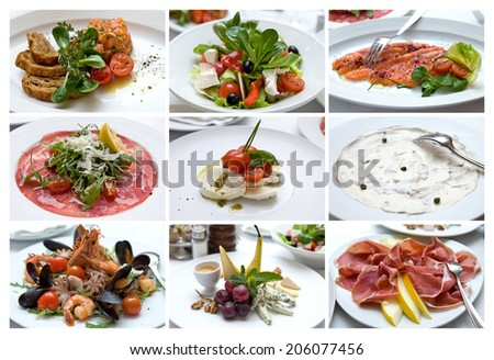 Italian Cuisine. Collage of Various Photo of Delicious Italian Dishes. Snacks. - stock photo