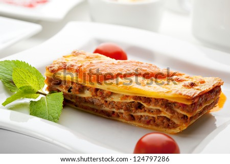 Italian Cuisine - Lasagna Bolognese - stock photo