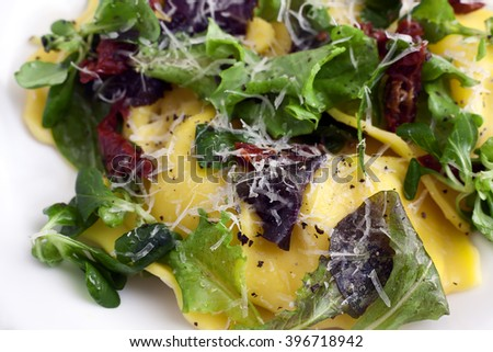 Italian cuisine ravioli with green salad, parmigiano cheese and sun dried tomato. - stock photo