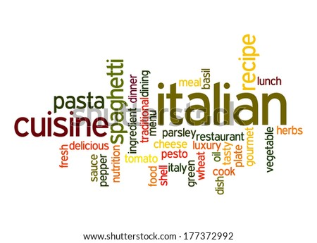Italian Cuisine word cloud - stock photo