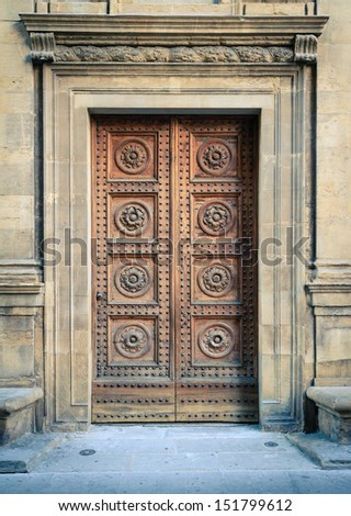 Italian Famous Architecure. Entrance door of famous Palace. - stock photo