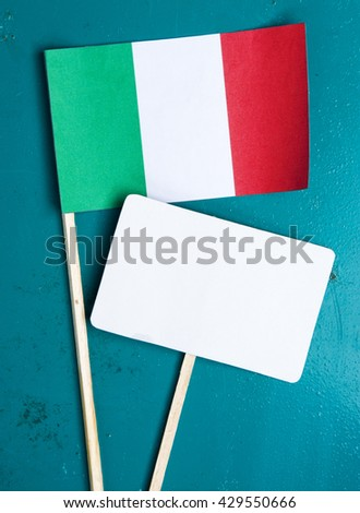 Italian flag and note for text. concept for information holidays, dates and events in Italy. Information table - stock photo