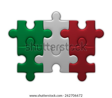 Italian flag assembled of puzzle pieces isolated on white background - stock photo