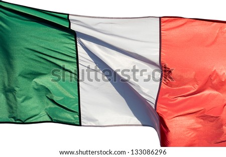Italian flag in the sun on a white background
