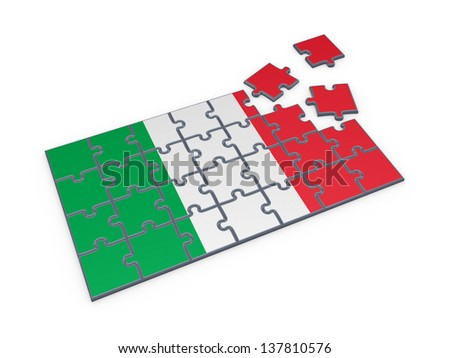Italian flag made of puzzles.Isolated on white background.3d rendered. - stock photo
