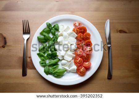 Italian flag on a plate: basil, mozzarella and cherry tomatoes  - stock photo
