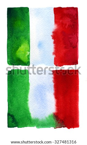 Italian flag painted with watercolors on white background - stock photo