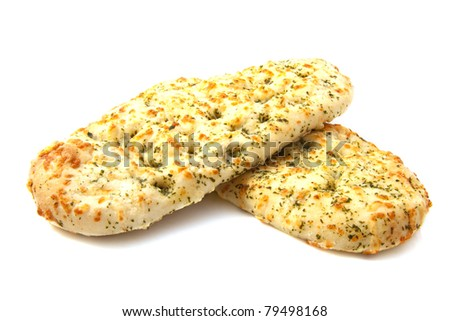 Italian focaccia bread isolated over white - stock photo
