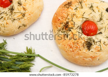 Italian focaccia with tomato - stock photo