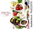 Italian food. Ingredients for cooking (tomatoe, garlic, pepper, mushroom, bay leaves, olives, olive oil) With wine over white (with easy removable sample text) - stock photo