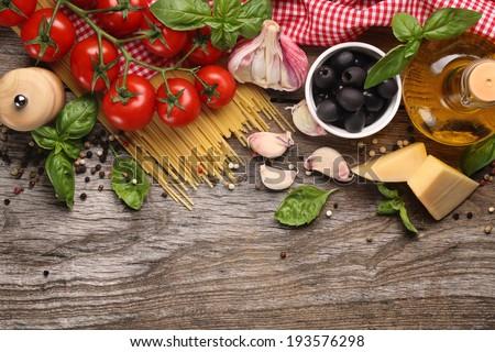 Italian food ingredients on wooden background stock photo italian food ingredients on wooden background forumfinder Gallery